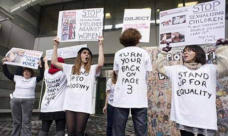 Campaigners from Object and Turn Your Back On Page 3 protest outside the offices of the Sun.