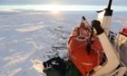 The sun rises over Antarctica as the Akademik Shokalskiy awaits rescue.