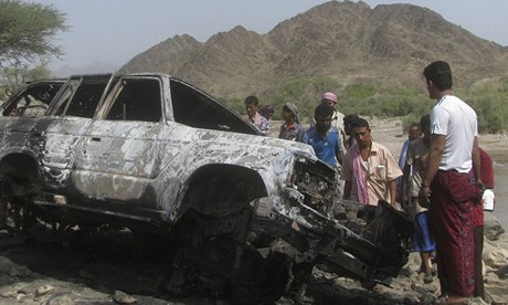 Site of a drone strike on the road in southern Yemen