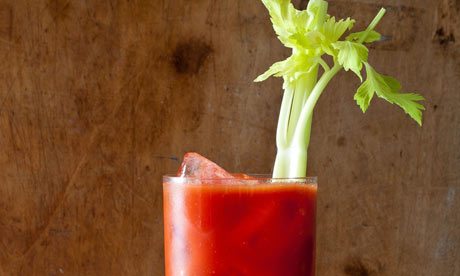 a glass of bloody mary, breakfast drink for Hunter S Thompson