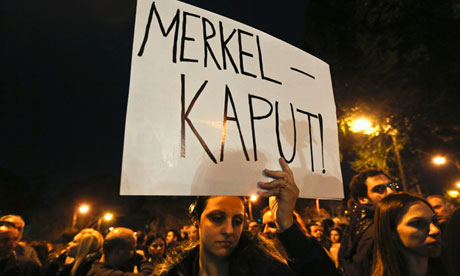 Anti-German feeling . . . an employee of Cyprus Popular Bank at a protest last month.