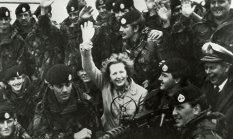 Margaret Thatcher visits Falkland Islands