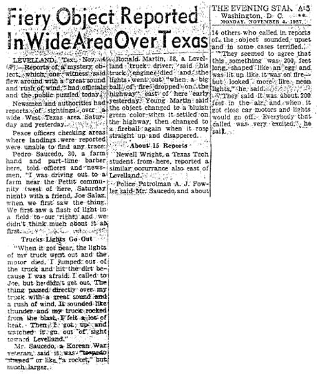Reports of a UFO sighting in Levelland, Texas in 1957.