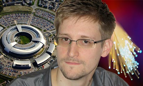 NSA whistleblower Edward Snowden, the GCHQ intelligence centre in Cheltenham, UK and fibre optic cable. Photograph: Guardian