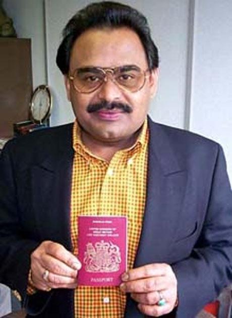 Altaf Hussain with his British passport, granted in 2002