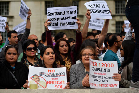 A protest against Altaf Hussain, outside Downing street in May this years
