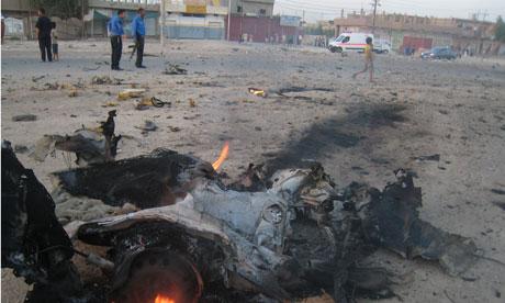 Scene of a recent car bomb attack