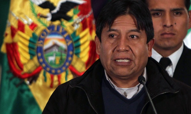 Bolivian Minister of Foreign Affairs, David Choquehuanca, speaks during a press conference in La Paz, Bolivia,