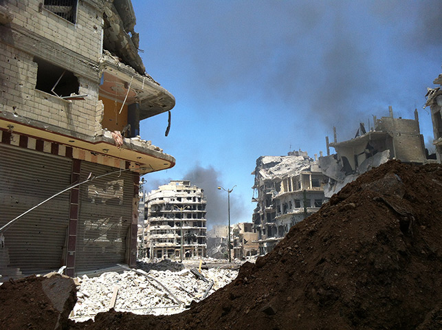 Homs destruction: Damaged buildings in the Khalidiyah area of Homs