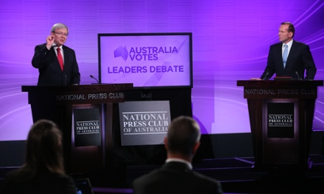 Kevin Rudd and Tony Abbott at the first election debate on 11 August 2013. Photograph: Mike Bowers/TGM