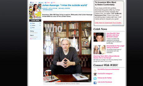 How the Who website presented its interview with Julian Assange