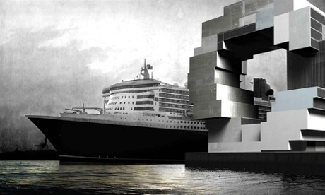 Fun with shipping containers … OMA's proposal for Hamburg was formed of a stack of Tetris-like blocks.