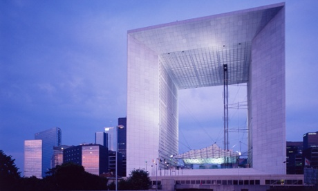 Gaping portal … La Grande Arche de la Défense is twisted off axis to join up with Paris's other monuments.