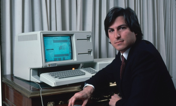 Steve Jobs with a LISA computer