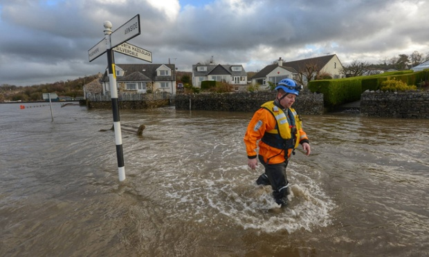 The coastal village of Sandside, Cumbria which has been hit by rising water as the high tide arrives, bringing rescue workers and coatstguards into action making sure everyone is safe.