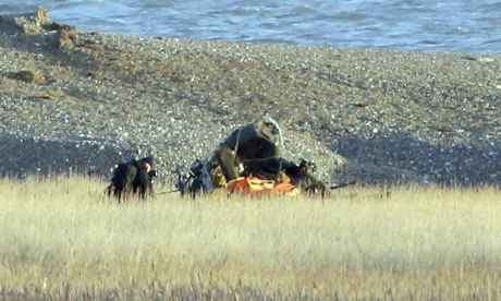 The wreckage of the crashed US helicopter lies near the beach at Cley-next-the-Sea