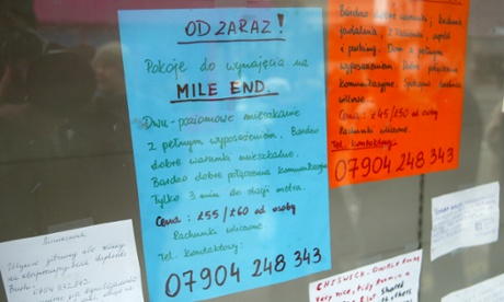 Adverts for work and rooms to let written in Polish