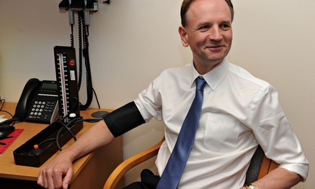 Blood pressure test: the chief executive of the NHS, Simon Stevens.