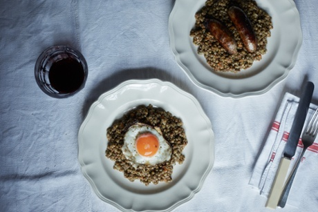 For the second meal, just reheat the lentils, then top with a grilled or pan-fried sausage or fried egg.