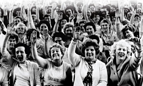 Workers at the Dagenham car plant, who went on strike over equal pay in 1968