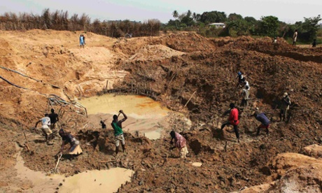 Diamond miners in eastern Sierra Leone.