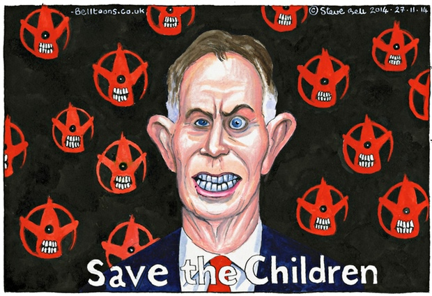 Tony Blair and Save the Children, Steve Bell cartoon