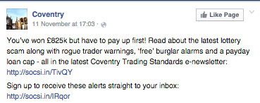Coventry city council Facebook post