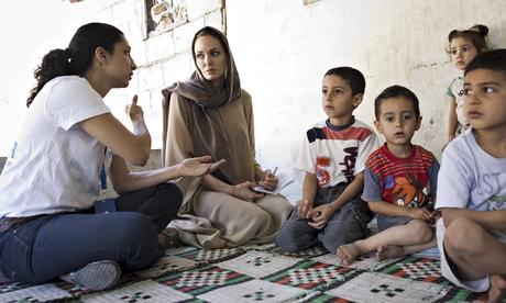 UNHCR special envoy Angelina Jolie with Syrian refugees in Lebanon