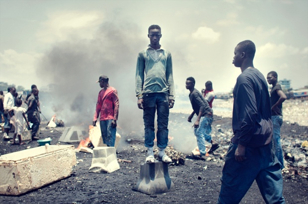 Rahman Dauda, 12, started working here three years ago and burns e-waste with a few friends