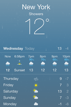 iOS 7.1: Weather app doesn't have to animate