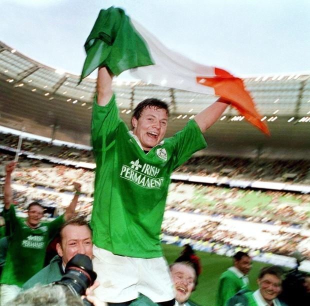 Brian O'Driscoll celebrates his hat-trick of tries against France in the 2000 Six Nations