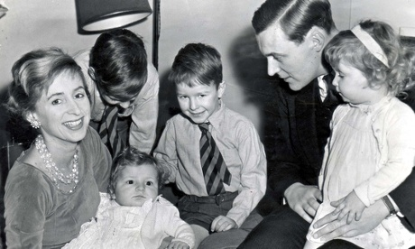 Tony Benn with his wife Caroline, children Stephen, Hilary, Melissa and new baby Joshua