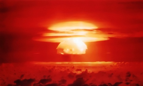 Mushroom cloud from the Operation Castle Bravo nuclear explosion in the Bikini Atoll, Marshall Islands