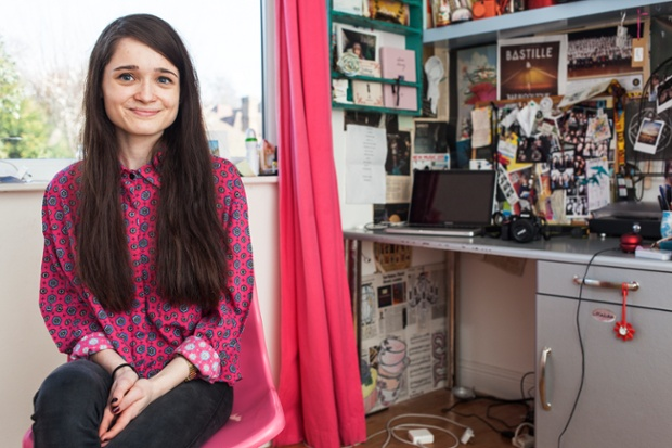 Ellie Burns in her bedroom, in Nottingham.