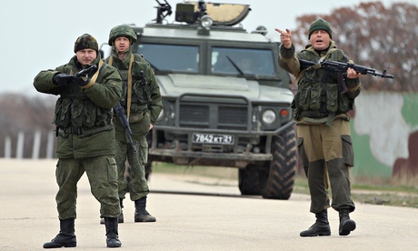 Troops under Russian command at the Belbek airbase in Crimea, Ukraine