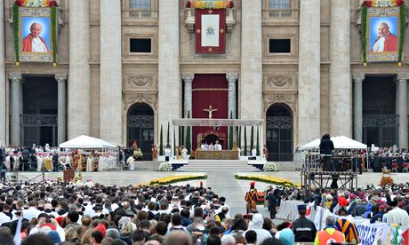 Pope Francis  eads the canonisation mass of Popes John XXIII  and John Paul II