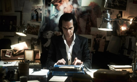 Nick Cave writing lyrics.