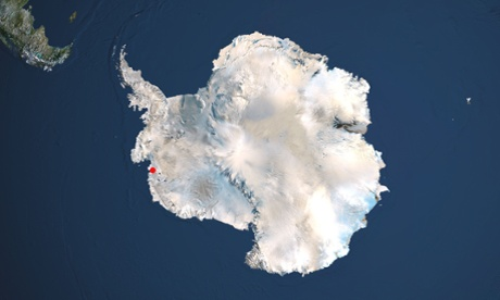 Satellite view of Antarctica with the Thwaites glacier marked in red.