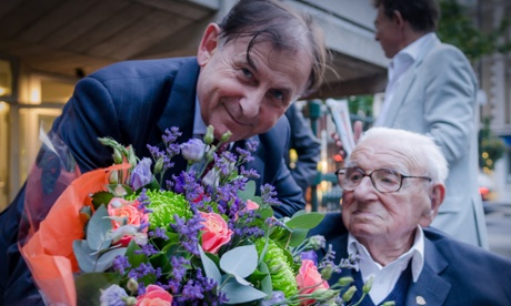 Sir Nicholas Winton with ambassador of the Czech Republic, Mr Michael Zantovsky. Winton will be awarded the Order of the White Lion, the highest state decoration in the Czech Republic.