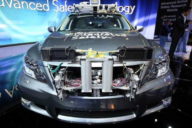 A Lexus LS Integrated Safety self-driving car is displayed at the Lexus booth during the 2013 International CES at the Las Vegas Convention Center on January 8, 2013 in Las Vegas, Nevada.