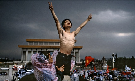 'A moment of sublime sanity' … a hunger protester at Tiananmen.