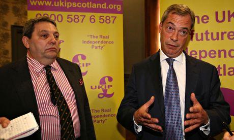 UKIP's Scottish MEP candidate David Coburn (left) seen with party leader Nigel Farage. Photograph: David Cheskin/PA