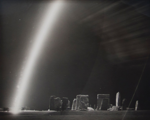 Cows and Flare at Stonehenge Ruins, 1944.