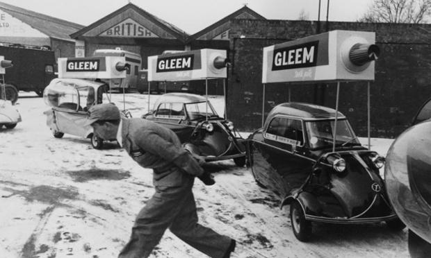 A fleet of Messerschmitt micro-cars employed to advertise 'Gleem' toothpaste