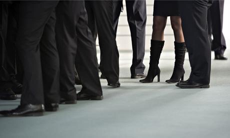 women networking among all men, women networking