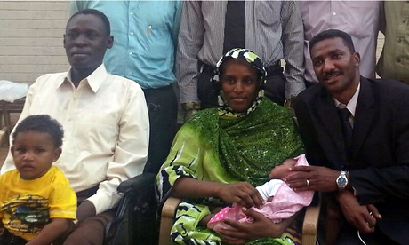 Meriam Ibrahim with her baby, husband Daniel Wani, their son and a lawyer