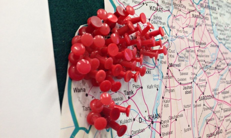 Polio cases marked with red pins on a map