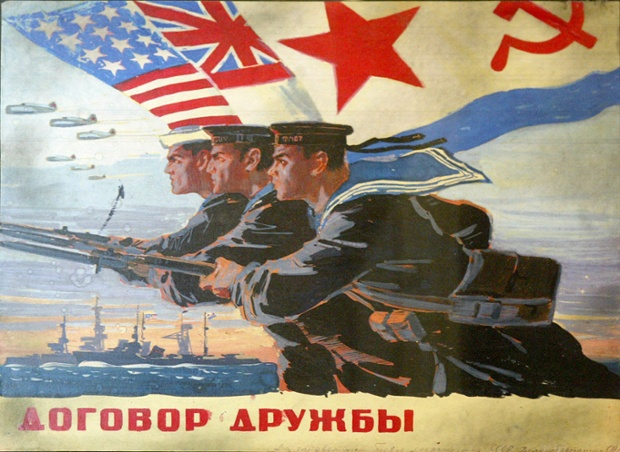 A World War II poster from the Museum of the Great Patriotic War in Moscow. The poster, featuring US, British and Soviet servicemen, is part of the museum's section chronicling the allies' wartime efforts Photograph: AP