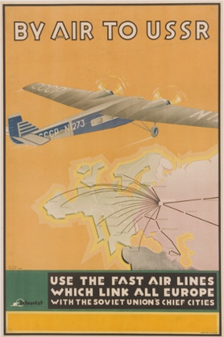 A tourism poster from 1934 advertises Aeroflot, launched as the Soviet national airline in the 1920s Photograph: 2006 KJ Historical/K.J. Historical/Corbis