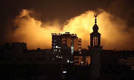 Smoke rises after Israeli air strikes in Gaza City
